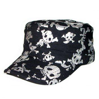 Flat Top Shimmer Skull Pattern Military Hat