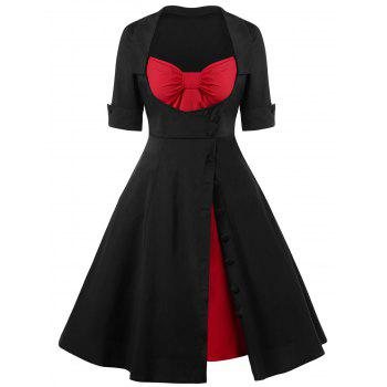 Single Breasted Lace Up 50s Swing Dress