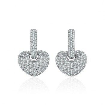 Rhinestone Detachable Heart Hoop Drop Earrings