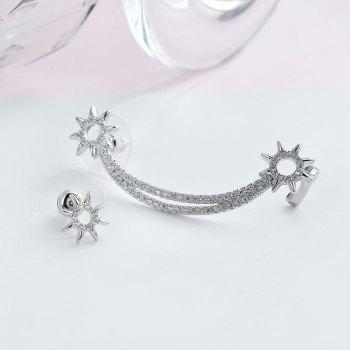 Rhinestone Sun Moon Asymmetric Earrings