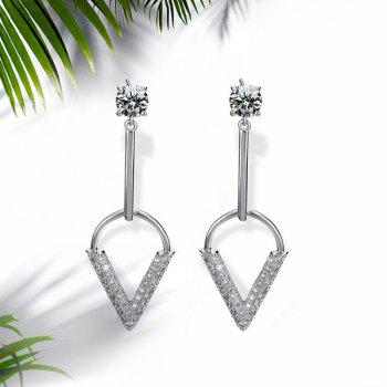 Rhinestone Bar V-Shape Drop Earrings