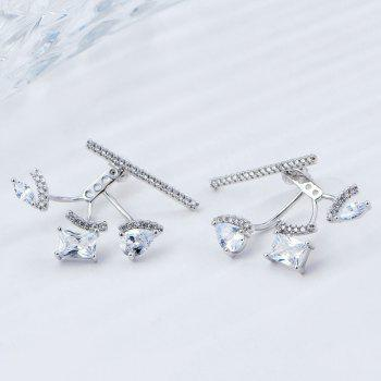 Rhinestoned Teardrop Geometric Ear Jackets