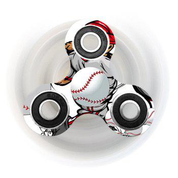 Baseball Patterned Tri-bar Plastic Fidget Spinner
