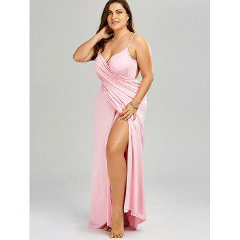 Plus Size Maxi Flowy Beach Cover Up Wrap Dress - PINK 3XL