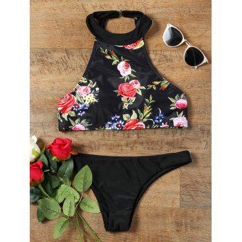 Choker Neck Rose Printed Backless Bikini Set