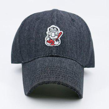 Double Cartoon Figure Embellished Baseball Cap - BLACK GREY