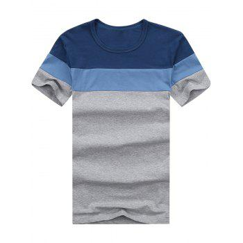 Color Block Short Sleeve Striped Tee