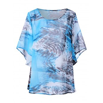 Butterfly Sleeve Plus Size Print Top