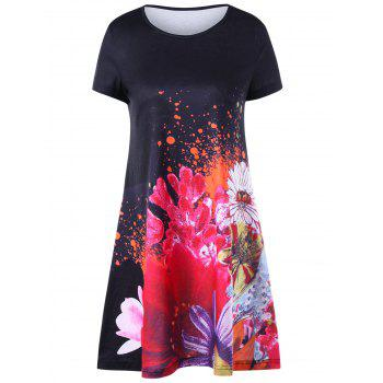Short Sleeve Floral Mini Tee Dress