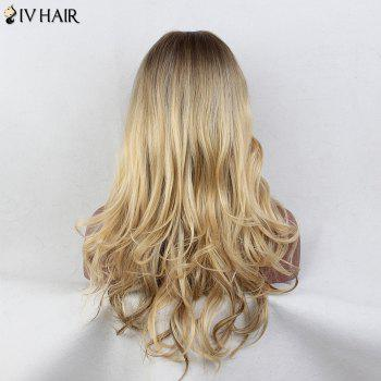 Siv Hair Long incliné Bang Layered Wavy Colormix perruque de cheveux humains - multicolorcolore