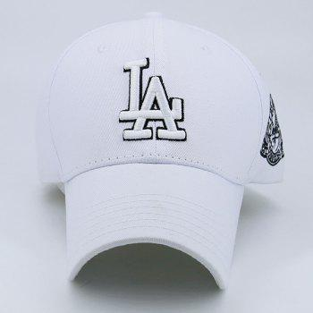 Baseball Hat with Emblem Letters Embroidery - WHITE