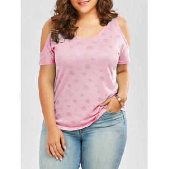 Plus Size Cold Shoulder Plain T-Shirt - PINK PINK