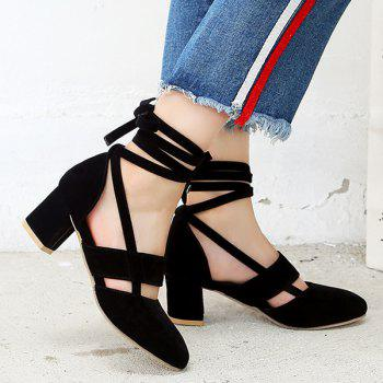 Block Heel Cut Out Tie Up Pumps