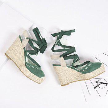 Lace Up Espadrille Wedge Shoes