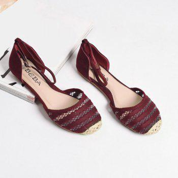 Weaving Colour Block Flat Shoes