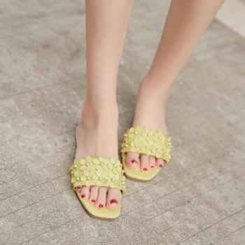 Flowers Beads Flat Heel Slippers