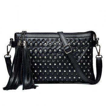 Rhinestone Rivet Tassel Crossbody Bag