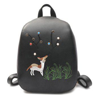 PU Leather Deer Embroidered Backpack