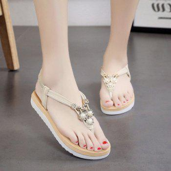 Faux Pearls Elastic Band Flat Heel Sandals