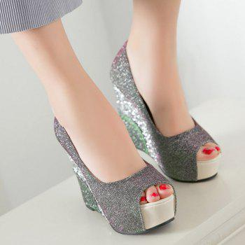 Glitter Wedge Heel Peep Toe Shoes