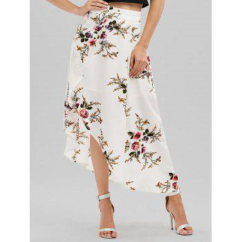High Waisted Floral Asymmetrical Wrap Skirt