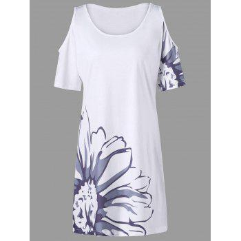 Plus Size Floral Cold Shoulder Tee Dress