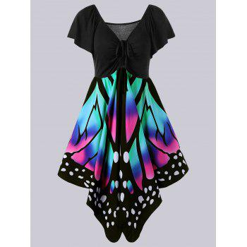 Plus Size Empire Waist Butterfly Print Dress