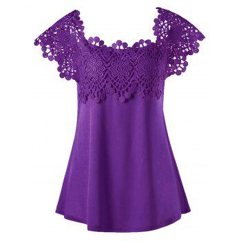 Plus Size Lace Trim Cutwork T-shirt
