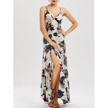 High Split V Neck Floral Maxi Dress