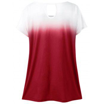 Plus Size Floral Ombre T-Shirt - RED RED