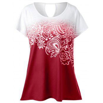 Plus Size Floral Ombre T-Shirt - RED 4XL