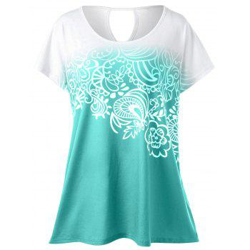Plus Size Floral Ombre T-Shirt - GREEN 3XL