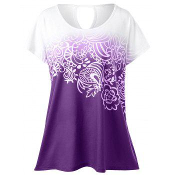 Plus Size Floral Ombre T-Shirt - PURPLE 2XL