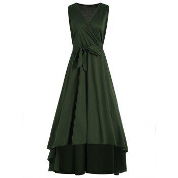 V Neck High Low Plus Size Prom Dress Army Green Xl In