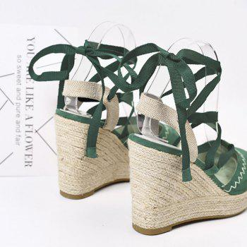 Lace Up Espadrille Wedge Shoes - GRASS GREEN GRASS GREEN