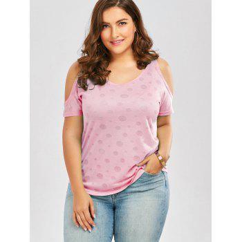 Plus Size Cold Shoulder Plain T-Shirt - PINK 5XL