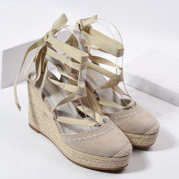 Lace Up Espadrille Wedge Shoes - APRICOT 39