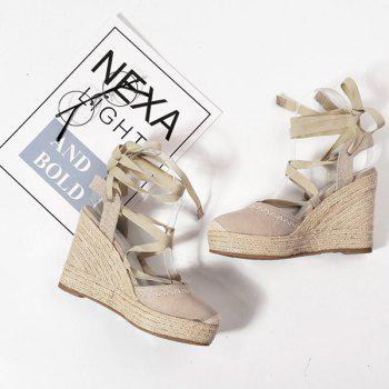 Lace Up Espadrille Wedge Shoes - APRICOT APRICOT
