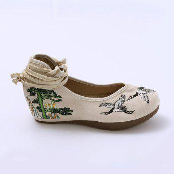 Embroidered Tie Up Wedge Shoes - CANDY BEIGE CANDY BEIGE
