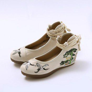 Embroidered Tie Up Wedge Shoes - CANDY BEIGE 40
