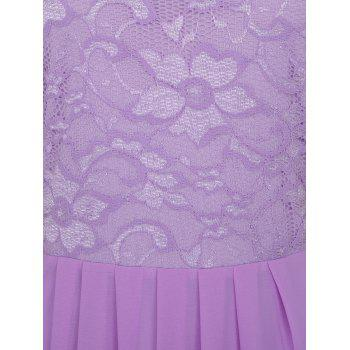 High Waisted Floral Lace Insert Dress - PURPLE 2XL