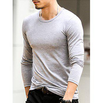 Round Neck Long Sleeve Plain T-Shirt - LIGHT GREY XL