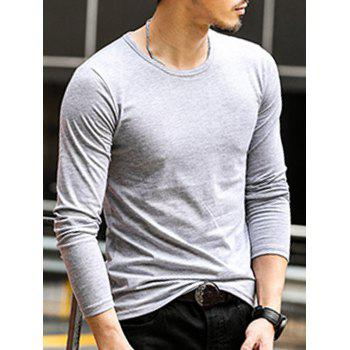 Round Neck Long Sleeve Plain T-Shirt - LIGHT GREY 2XL