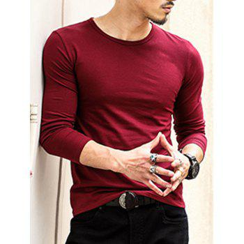 Round Neck Long Sleeve Plain T-Shirt - WINE RED 2XL