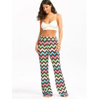 Multicolor Zigzag Printed Flare Pants - COLORMIX S