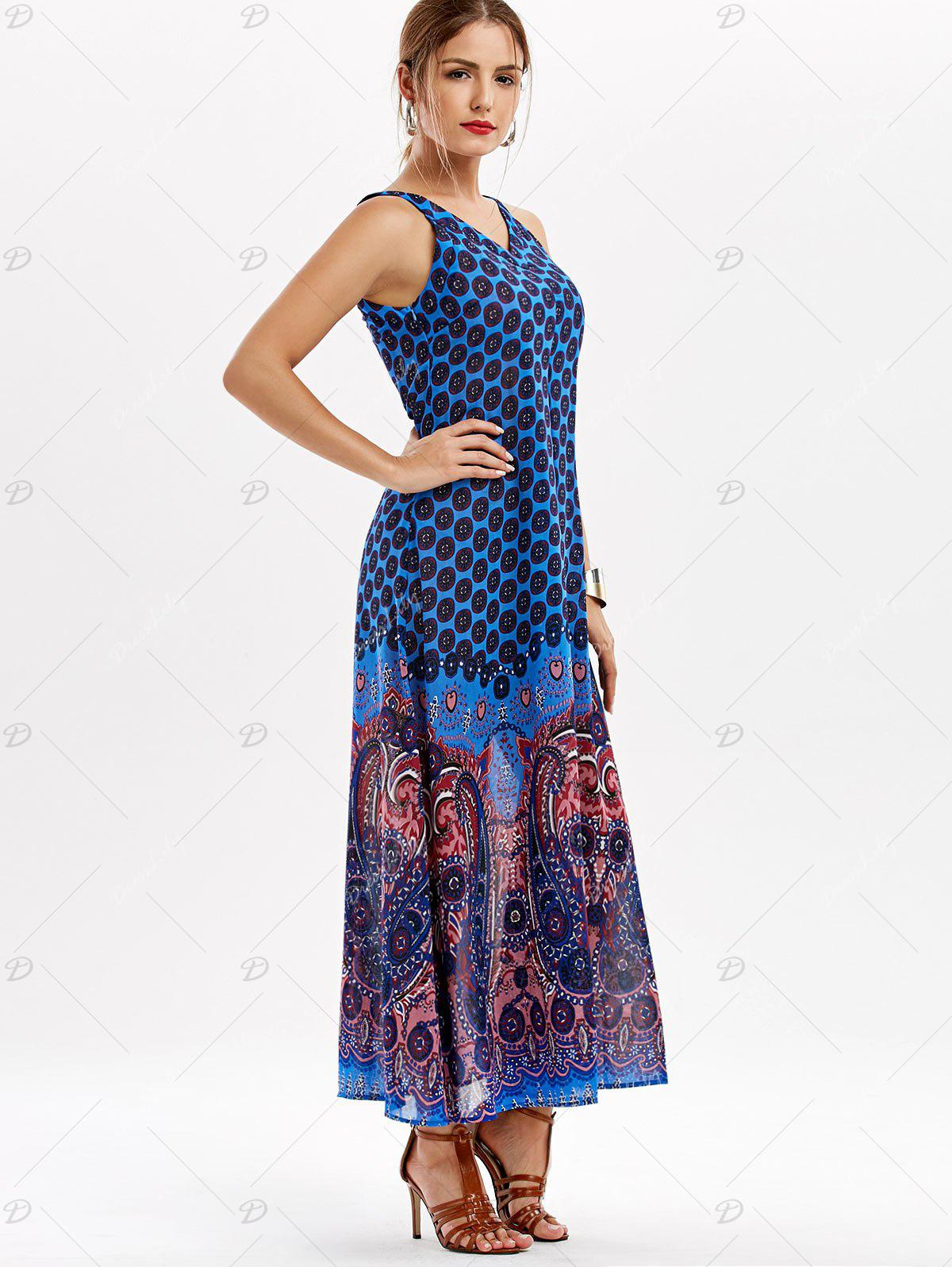 Paisley V Neck Maxi Dress - BLUE M