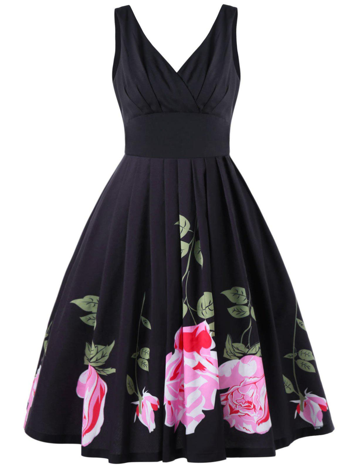 Pleated Vintage Midi Swing Dress - BLACK L