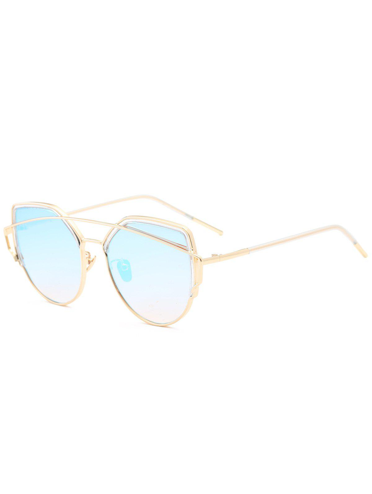 Metal Long Crossbar Cat Eye Sunglasses - LIGHT BLUE