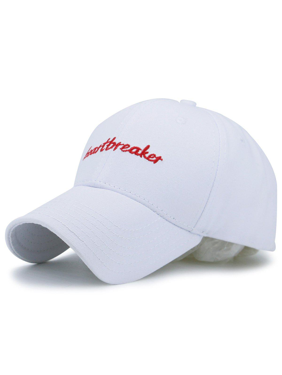 Baseball Hat with Letters Heartbreaket Embroidery - WHITE