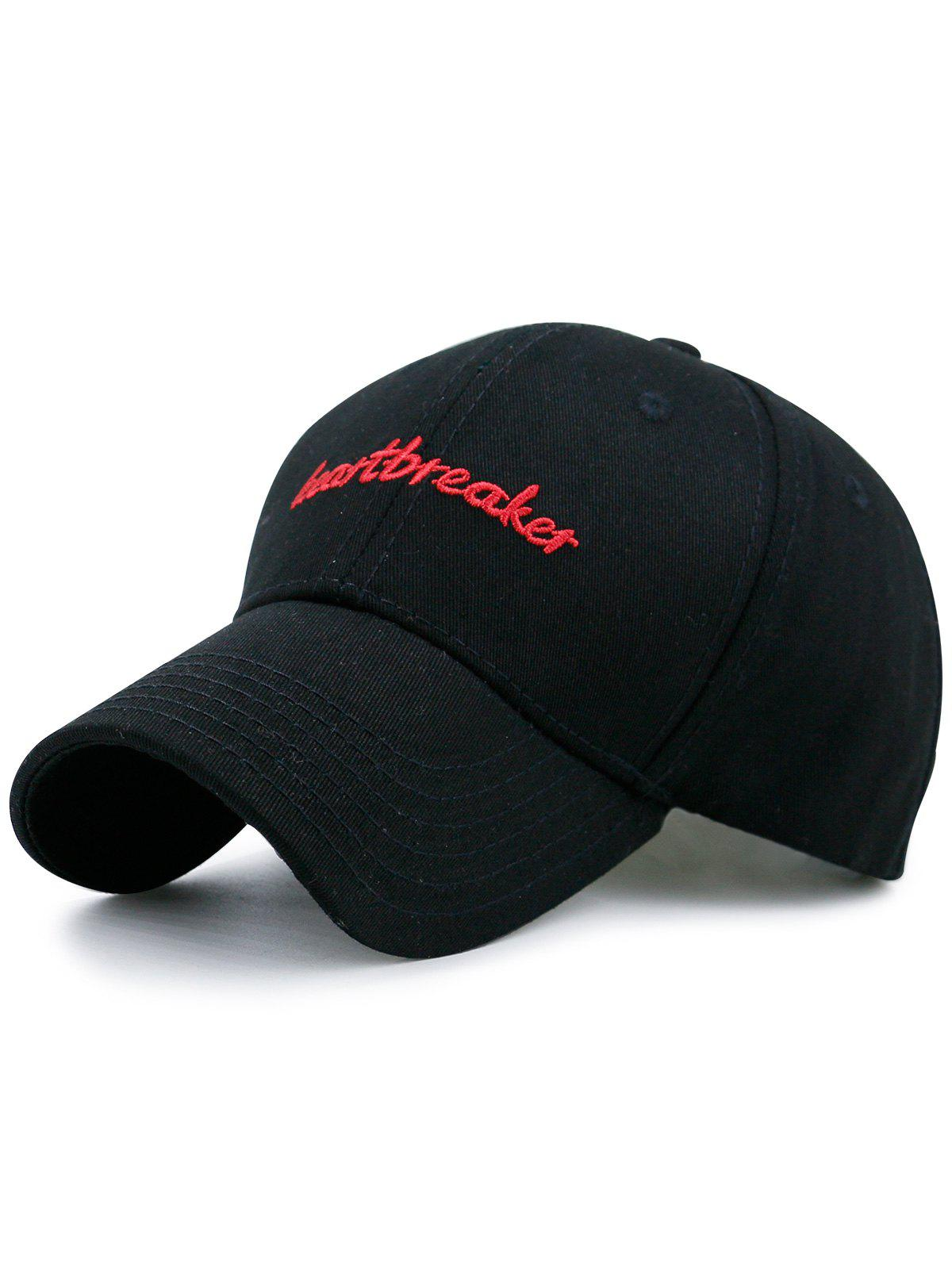 Baseball Hat with Letters Heartbreaket Embroidery - FULL BLACK